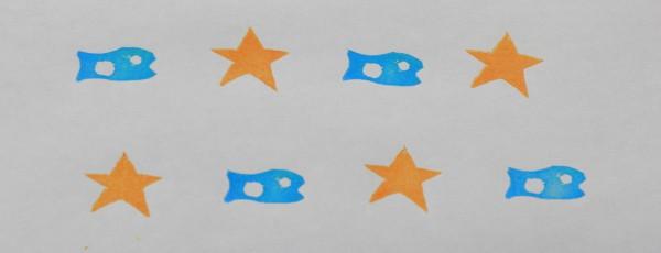 消しゴムはんこの作品「星と魚」